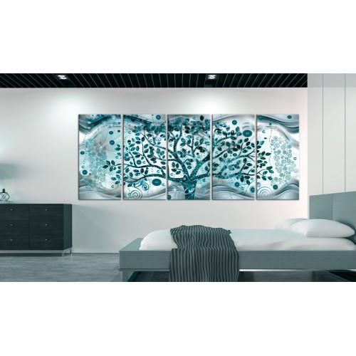 Quadro - Tree and Waves (5 Parts) Blue - Quadri e decorazioni
