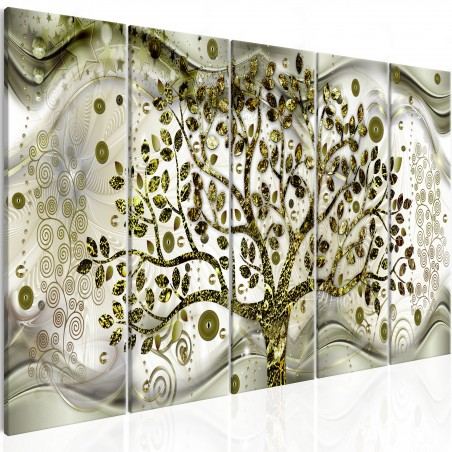 Quadro - Tree and Waves (5 Parts) Green - Quadri e decorazioni